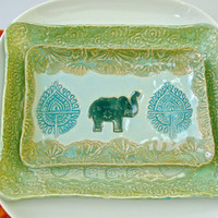 Peacock and Elephant Dinnerware set, Lunch plate set, appetizer plate, salad plate, elephant plates, Peacock plate, Green plate set,