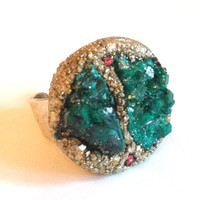 ON SALE Emerald green Dioptase and Pyrite Ring