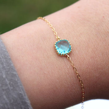 Dainty Blue Aquamarine Bracelet Square Gold Plated Aqua Topaz Bracelet Bridesmaid Bracelet - Bridal Bracelet Something Blue Wedding Jewelry
