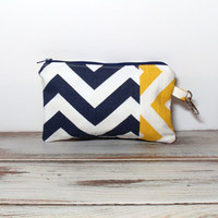 Chevron Zipper Pouch - Yellow Navy Chevron - Zipper Pouch - Coin Purse - Change Purse - Cell Phone Wallet