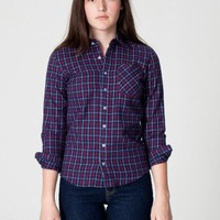 American Apparel Unisex Flannel Long Sleeve Button-Up Shirt