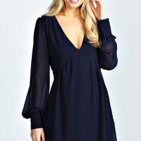 Aerial Long Sleeve V Front Smock Dress