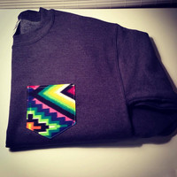 Custom crewcut sweatshirt with bright aztec pocket