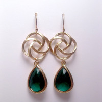 Spiral Circle Earrings Emerald Green Drops With 14k Filled Hooks