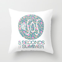 5SOS - 5 Seconds of Summer - Floral Throw Pillow by Valerie Hoffmann