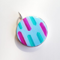 Round Statement Pendant {Geometric Shapes, Polymer Clay}