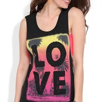 Tank with Tropical Ombre Love Screen and Twist Back
