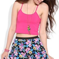 Tropical Floral Print Skater Skirt with Elastic Waistband