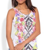 Floral Aztec Tank Top with Slash Back