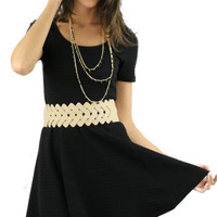 Short Sleeve Textured Skater Dress - Black