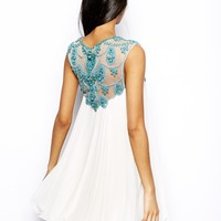 Forever Unique Swing Dress in Heavy Beaded Embellishment