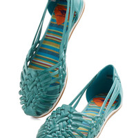 Strappy and I Know It Flat in Turquoise | Mod Retro Vintage Flats | ModCloth.com