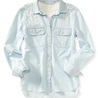 LONG SLEEVE BATTENBURG CHAMBRAY WOVEN SHIRT