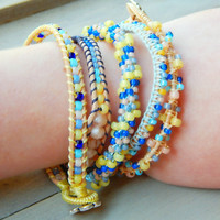 Spring Peach and Blue Festival Stack Bracelets, Macrame bracelet, Set of Stack bracelets