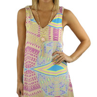 Sleeveless Printed V-Neck Shift Dress - Yellow/Multi