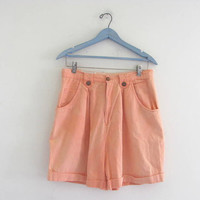 STOREWIDE SALE...Vintage 80s peach shorts. roll up shorts. women's size 13/14