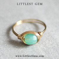 Green Opal Ring, wire wrapped jewelry handmade, wire wrapped ring, unique rings, boho ring, small ring, faux opal ring, prom ring, custom
