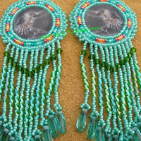 Rosette beaded earrings Native woman with Eagle