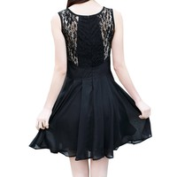 Zeagoo Women's Sleeveless Splicing Lace Round Collar Dress