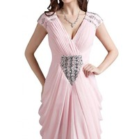 Emma Y New V-neck Short Sleeves Party Gowns Short Women Dresses