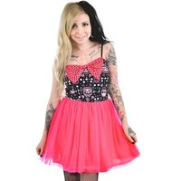 "Women's Cinderella Dress ""Muerta Cat"" by Too Fast Apparel (Black/Pink)"