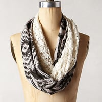 Ikat Crochet Infinity Scarf by Anthropologie Black & White One Size Scarves