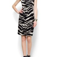 Mango Women's Straight Cut Zebra Dress