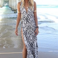 Navy & White Halter Tribal Damask Print Maxi Dress