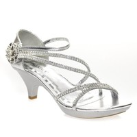 Delicacy Womens ANGEL48 Open Toe Rhinestones Med Low Heel Party Sandal, Silver PU Leather
