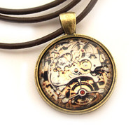 Watch movement necklace Clockwork pendant Steampunk jewelry  Gothic style