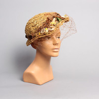 40s Natural STRAW HAT / VEILED Floral Garden Bonnet