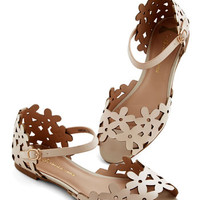 Prancing Through the Petals Flat in Beige | Mod Retro Vintage Sandals | ModCloth.com