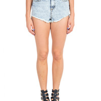 Acid Washed Hi Low Denim Shorts