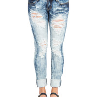 Bleach Dyed Distressed Denim Skinny Jeans