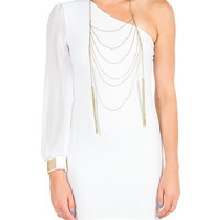 Golden Cuff One Sleeve Dress - Ivory