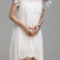 White Shift Dress w/ Crochet Neckline & Short Sleeve