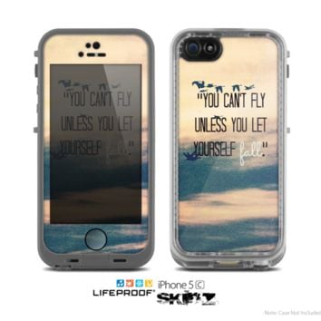 The Pastel Sunset -You Cant Fly Unless You Let Yourself Fall- Skin for the Apple iPhone 5c LifeProof Case