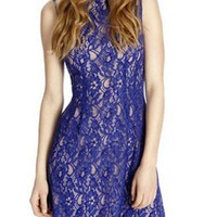 Blue Floral Lace Sleeveless Shift Dress