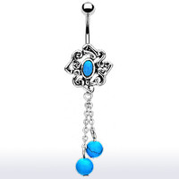 Turquoise Belly Button Ring Dangle Navel Body Jewelry Piercing