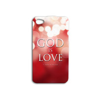 Gorgeous Custom GOD IS LOVE Cute iPhone Case Red Sparkle Pretty iPod Case iPhone 4 iPhone 5 iPhone 5s iPhone 4s iPhone 5c iPod 4 iPod 5 Case