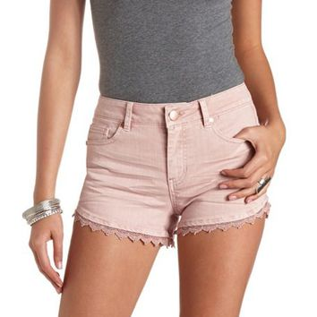 COLORED CROCHET TRIM HIGH-WAISTED DENIM SHORTS