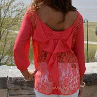 Kitty Hawk Coral Lace Bow Back Top