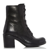 Black Leather Lace Up Block Heel Boots