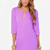 Cutout of Control Purple Shift Dress