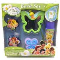 Disney Fairies Tinkerbell Bath 5 Pc Spa Gift Set - Includes Mirror, Bath Foam, Body Wash, Shampoo and Pouf