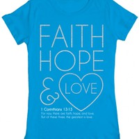 Faith Hope and Love - Junior Christian Tee | Junior Christian Shirt