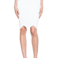 Embossed Knit Pencil Skirt in White