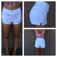 White Destroyed Denim High Waisted Shorts