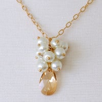 Gold Bridal Necklace, Pearl Cluster Necklace with Swarovski Teardrop Crystal, Abigail Collection