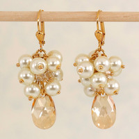 Gold Bridal Earrings, Pearl Cluster Earrings with Swarovski Crystal, Abigail Collection